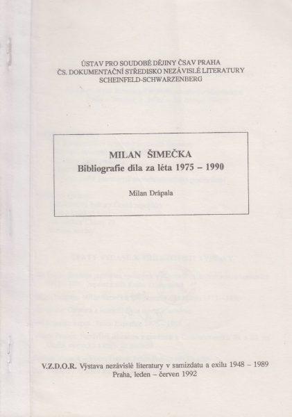 Milan Šimečka. Bibliografie díla za léta 1975–1990