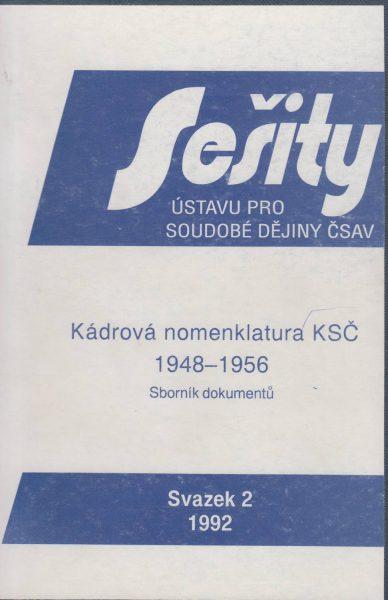 Kádrová nomenklatura KSČ 1948–1956. Sborník dokumentů