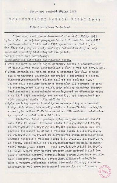 Dokumentační soubor Volby 1992