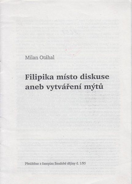 Filipika místo diskuse aneb vytváření mýtů