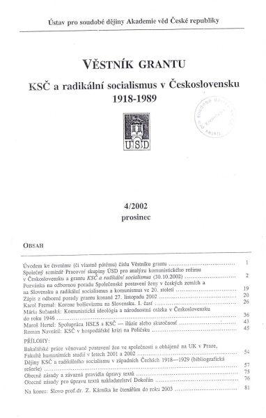 Věstník grantu KSČ a radikální socialismus v Československu 1918–1989. Sv. 4